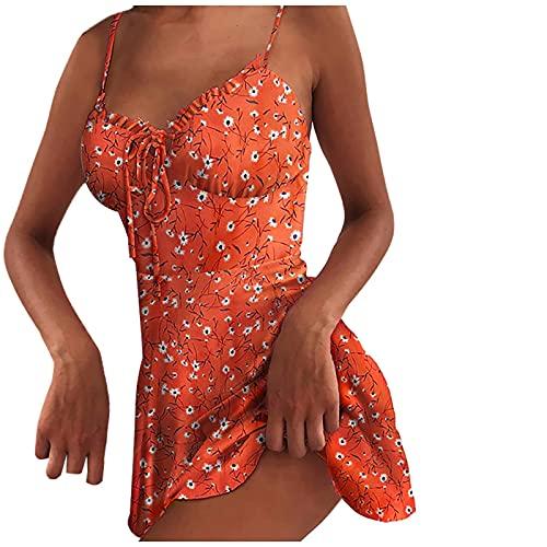 Frauen Sommer Mode Leinen Blumendruck Ärmelloses Swing Kleid Open Back Zipper Beach Dress Mini Short Rock