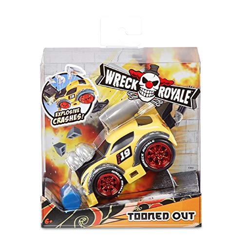 MGA Entertainment Wreck Royale Exploding Crashing Tooned Out Race Car with 4 Mix 'N Match Explosive Parts