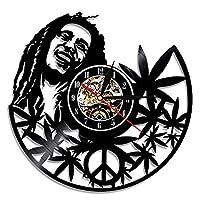 ビニールレコード壁掛け時計 音楽テーマBob Marley 3Dアールデコ レトロな壁時計 サイレント ウォールクロック 手作り ウォールクロック モダンなクリエイティブギフト 家の壁の装飾 (A)