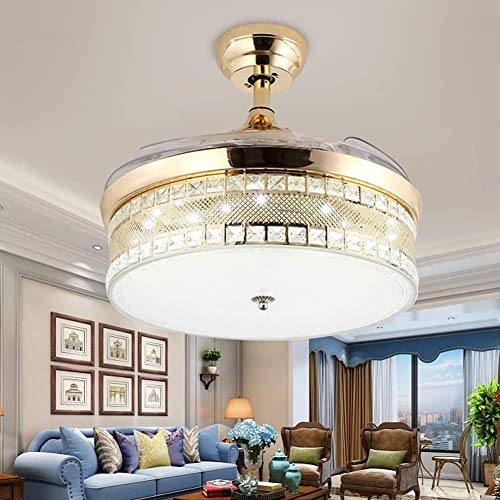 LOXZJYG Crystal Ceiling Fan Chandelier Retractable Blade Ceiling Fan With Light Dimmable Ceiling Fan Lamp Fandelier with Remote Control 3-Color 3-Speed 2 Down rod 42 inch (Color : Golden)