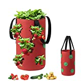 Grow Bags for Strawberry Vegetables 11 Planting Holes, Sturdy Hanging Handle Thickened Breathable Felt Cloth, Plant Grow Bag for Carrot Onion Tomato Potato (Wine red)