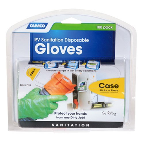 Camco Durable All Purpose RV and Camper Disposable Sanitation Gloves - Will Grip in Wet or Dry Conditions | Green Latex Gloves - 100 Pack (40285)