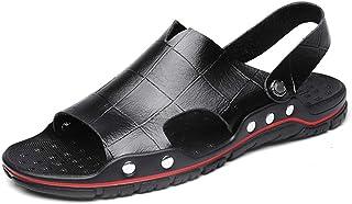 Fashion Sandals for Men Slipper Shoes Slip On OX Leather Dual Purpose Rivet Reinforcement Gird Pattern Men's Boots (Color : Black, Size : 10 UK)