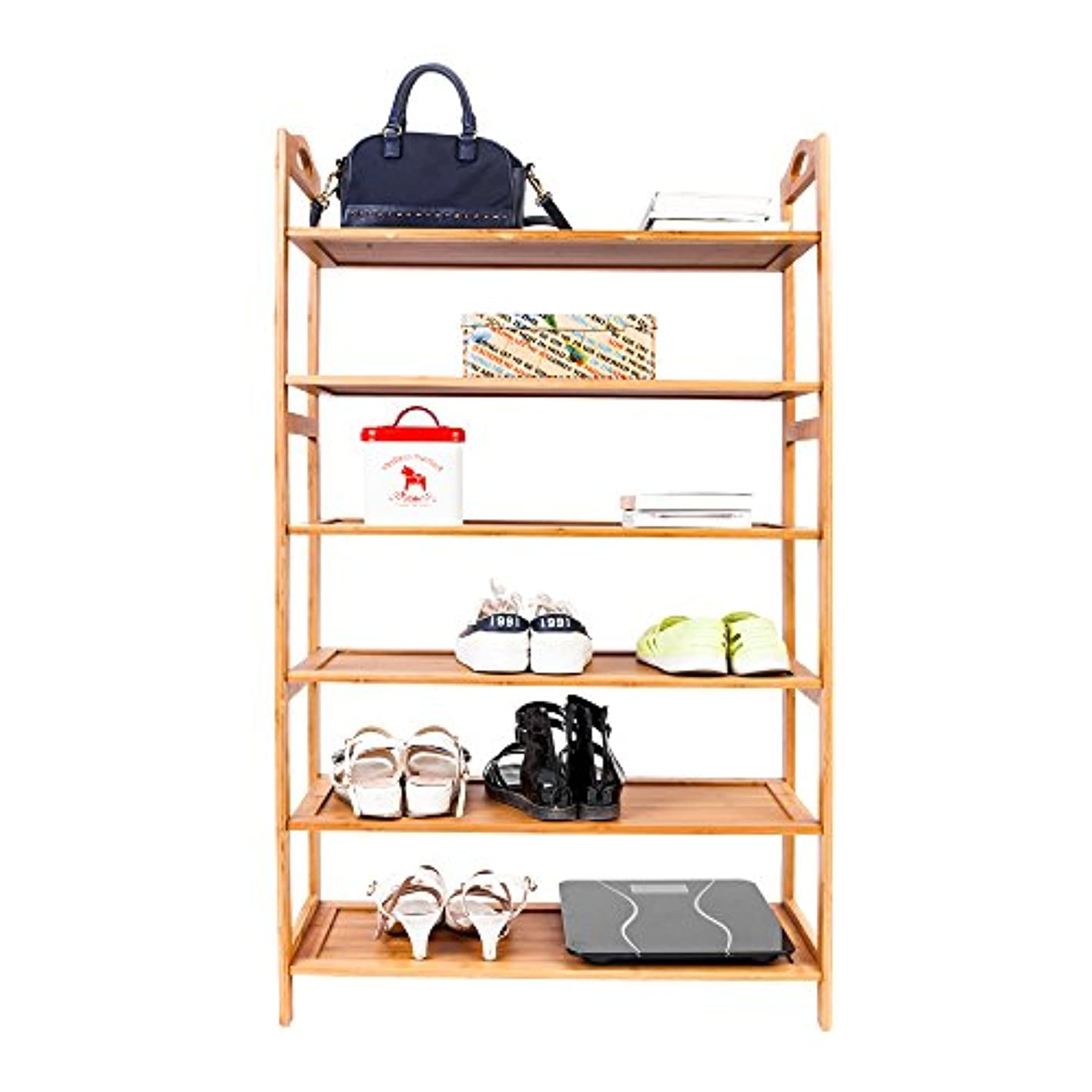 HomVent Shoe Rack,Portable Bamboo Board Boot Shoe Rack Wood Color Unit Entryway Shelf Stackable Cabinet Storage Organizer