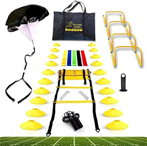 Big B Pro Sports Speed Agility Training Set Includes Ladder 20 Cones with Holder Running Parachute product image