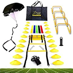 🏆CHAMPION QUALITY - Built to get you through your rigorous workouts, our speed agility equipment kit uses high quality materials to create a premium set that can help you get the most of your agility training needs. Get the most out of our enhanced s...