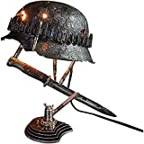 XYDD War Relic Lamp,Remembering That History,Second World War Soldiers Helmet and Bayonet Lamp, Battle Decoration Resin Decor Light (C)