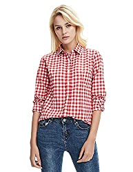 C.Cozami Womens Casual Checkered Red/Black/Maroon/Blue/White Shirt