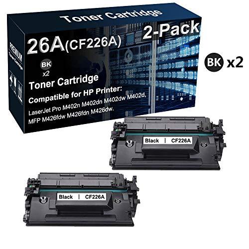 2 cartuchos de tóner compatibles de alto rendimiento 26A CF226A para impresora HP LaserJet Pro M402n M402dn M402dw (negro, texto transparente)
