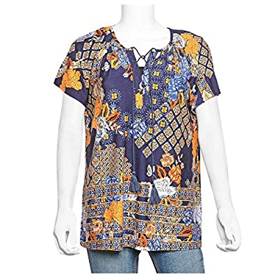 Navy 95% Rayon and 5% Spandex Top Trendy and Comfortable for Spring-Summer Days (Size XL)