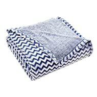 "Flannel Fleece Throw Blanket for Couch - Chevron Stripe Throw - 50"" x 60"" Reversible Blanket - All Season Use - Sculpted Plush Luxury Blanket (Blue and White) 300GSM"