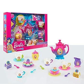 Barbie Dreamtopia Tea Set Colorful Plastic Set for Tea Parties Includes 23 Pieces