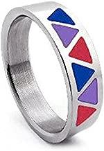 Bi Pride Triangle Flag Steel Ring - Bisexual LGBT Pride Jewelry Rings