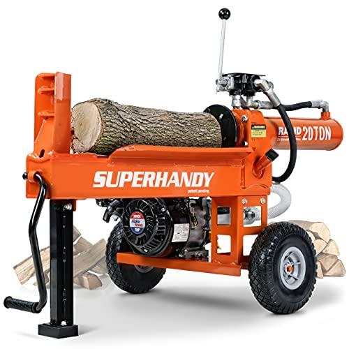 SuperHandy Log Splitter Portable 20 Ton Rapid Auto Return Hydraulic Ram System 45k Pound Force Bucher Gear Pump 7HP 209cc Engine Horizontal Full Beam Steel Wedge Firewood Splitting Forestry Harvesting