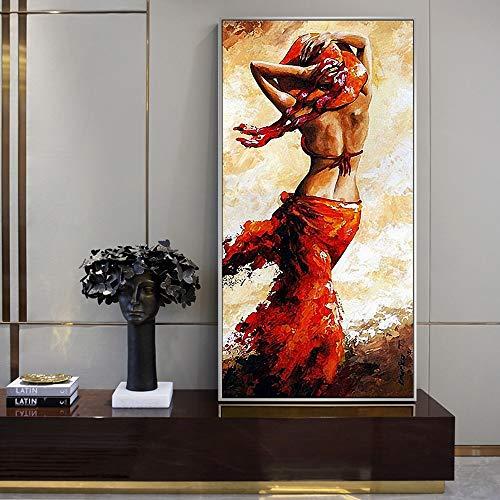 PLjVU Abstrakte afrikanische Frau Ölgemälde gedruckt auf Leinwand charmante Schwarze Frau Körper Leinwand Wandkunst drucken Wohnzimmer Wandbild-Ohne Rahmen50X100cm