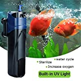 JUP-02 5W UV Sterilizer Submersible Filter Pump, Filtration Oxygen Pump, Water Cycle Aquarium Fish Tank (US Plug)