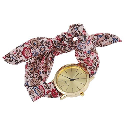 SovelyBoFan Reloj de Pulsera de Banda de Bufanda de Puntos para Mujeres de Flor de Color Marron