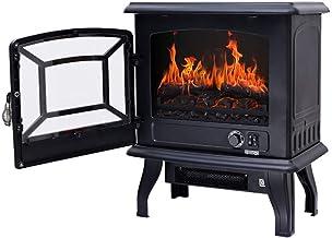 YLJYJ Chimenea portátil Independiente 1400W Calentador de Estufa eléctrica con Estufa de leña Efecto de Llama (Negro)