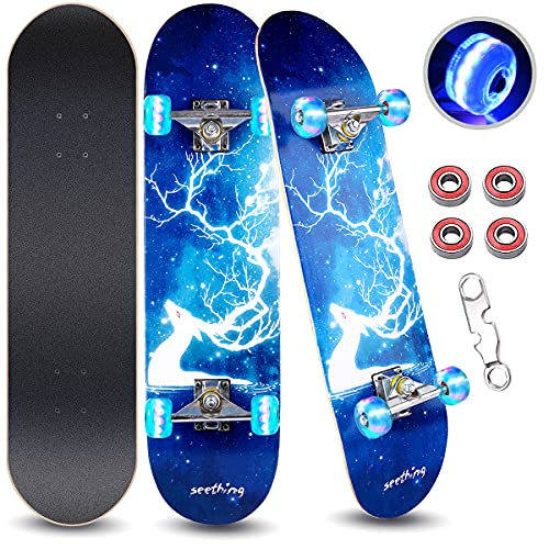 """ArgoHome Skateboards for Beginners, Complete Skateboards 31""""x 7.88"""", 7 Layer Maple Double Kick Concave Standard and Tricks with High Rebound PU for Teen Girls Kids Boys Youths & Adults Beginners"""