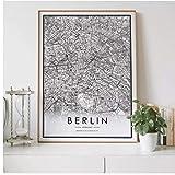 Mapa de la ciudad de Berlín, decoración nórdica para sala de estar, póster de lienzo, decoración moderna para el hogar, pintura artística impresa-50x70cm sin marco