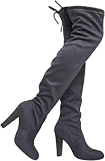 71d1837a5 ZooShoo Thigh High Stretch Boot - Trendy High Heel Shoe - Sexy Over The Knee  Pullon