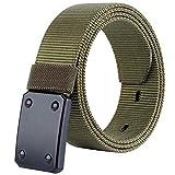 HotYou Cinturón táctico militar de nailon transpirable con hebilla de aleación de liberación rápida y hebilla de plástico para hombre,Ejercito Verde,L*W:47.24 Pulgadas*1.57 Pulgadas