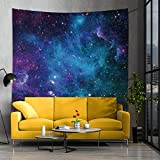 Jhdstore Cosmic Galaxy Tapestry Wall Hanging for Ceiling Universe Deep Space Nebula Tapestry Psychedelic Blue Starry Sky Tapestry Bohemian Wall Art Tapestry for Bedroom Dorm Decor (51x59inch, Nebula)