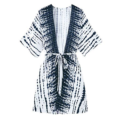liulangzhe No1 Frauen Bedruckte Cover Ups Kurzarm Chiffon Kimono Bluse Cardigan Top