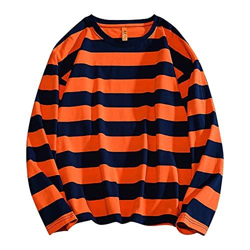 Wave166 Blusa para mujer, de manga larga, a rayas, bicolor, camiseta deportiva para primavera y otoño, para uso diario, blusa ligera en corte clásico, naranja, S