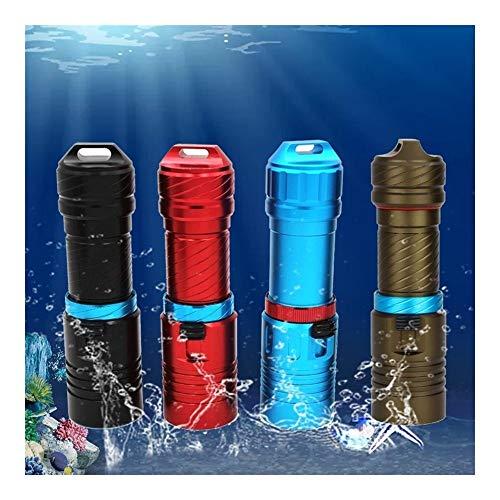 Taschenlampen Wasserdicht IPX8 Ebene XM-L2 18650 Oder 26650 Tauchen Taschenlampe LED Unterwasser Taschenlampen-bewegliche Laterne Tauchlampe Lampen-Fackel (Farbe : Rot, Size : 15000lm)