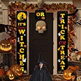 Dayeto Outdoor Halloween Decorations, 3 PCS Trick or Treat & It's Witches Halloween Banner for Front Door or Indoor Home Decor, Outside Halloween Decoration Signs (Yellow)