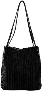 Ulisty Damen Klein Cord Schultertasche Mode Eimer Tasche Einkaufstasche Handtasche schwarz