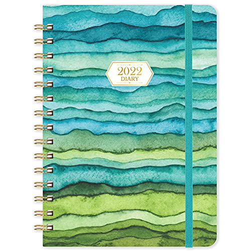 2022 Diary – Weekly & Monthly Diary A5 Week to View Planner January to December 2022 Twin-Wire Binding Tabs Hardcover Gradual Change Sea Wave