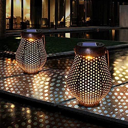 JPSOUP Colgantes Brown Linterna Solar del Arte del Hierro iluminación Solar luz al Aire Libre Luz Solar del jardín Decorativo con la manija, 1pcs