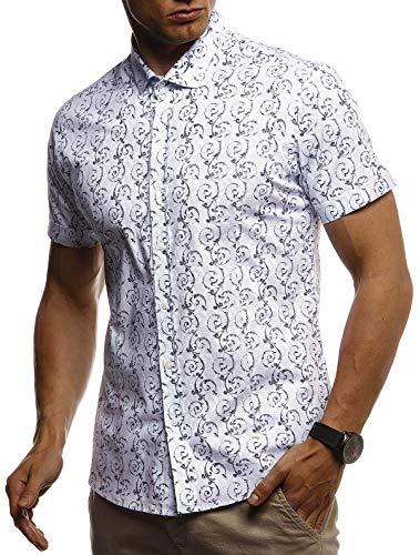 Leif Nelson Herren Hemd Kurzarm Slim Fit T-Shirt Kentkragen Stylisches Männer Freizeithemd Stretch Kurzarmhemd Jungen Basic Shirt Freizeit Sweater Sommerhemd LN3755 Weiß Large