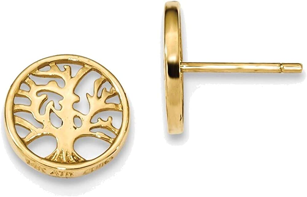 Round Tree Post Earrings in 14K Yellow Gold
