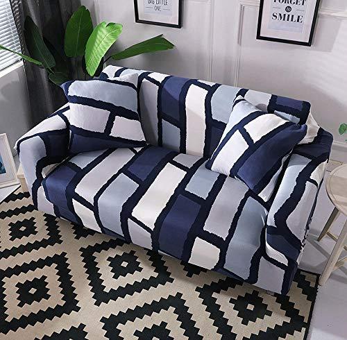 Funda Elástica para Sofá Cubierta del sofá Funda de sofá Funda elástica Protectora para sofá Material de poliéster con Costuras Azules Viene con 3 Fundas de Almohada