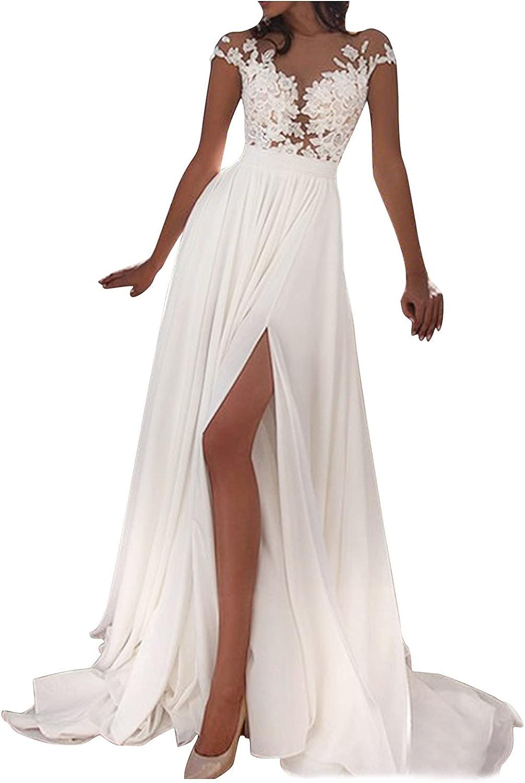 Summer Clothes,Women's Wedding Dress Lace V-Neck Evening Dress Bridal Gown Beach Wedding