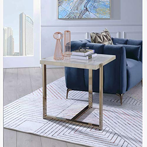 Melchor End Table, Rectangular Wooden top, Plated Metal Frame