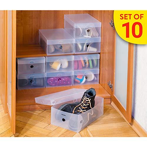Tatkraft Glasgow Schuhkarton, 10er Set, Schachteln Faltbar, Schuhboxen Stapelbar, Kunststoffboxen Gerippt Transparent-weiß, für Schuhe bis Größe 49, 21x34x13 cm