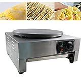 16' Commercial Electric Crepe Machine Electric Pancake Crepe Pan Maker Single Hotplate Non Stick 3KW 110V for Restaurants Snack Bars Cafés