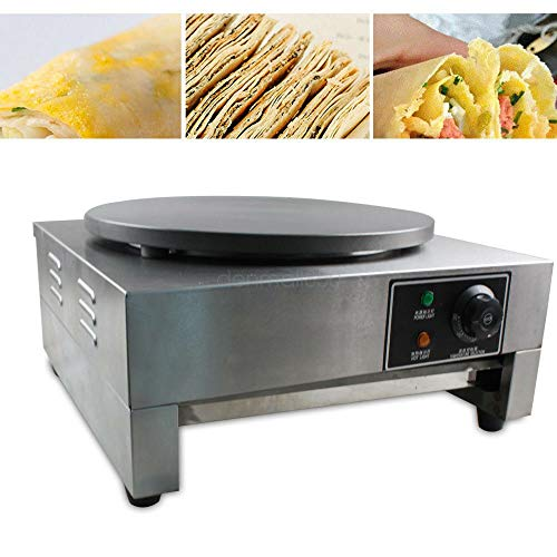 Crepe Makers, 2.8KW 16' Commercial Crepe Pans Electric Crepe Maker Aluminum Griddle Hot Plate Cooktop with Adjustable Temperature Control and LED Indicator Light Single Griddle Hot Plate Pancake Making Machine