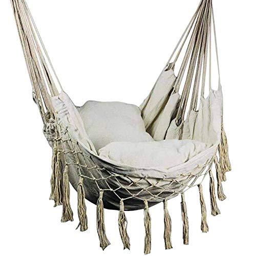 Hamaca, hamaca, sillón colgante Nordic ahorro de espacio, robusto columpio con borlas con cojín (sin bastones)