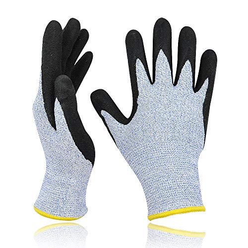 Schnittfeste Arbeitshandschuhe extra Level 5 Schutz mit komfortable 3D dehnbarer Passform und Power Grip Nitrilbeschichteter Handfläche für Gartenbau und Holzverarbeitung, 1 Paar – Gr.7.5/S