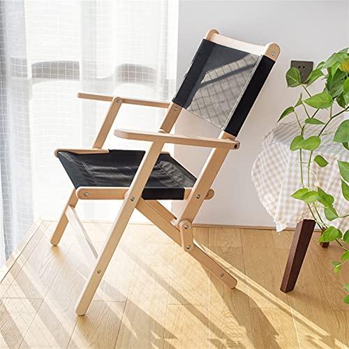 Hanghaijia Silla plegable de madera maciza para exteriores, portátil, diseño cruzado de mariposa, silla de picnic, playa, pesca, ocio (color: negro, tamaño: pequeño)