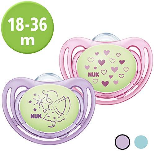 NUK Freestyle Night Schnuller | mit Leuchteffekt | Silikon | 18-36 Monate | kiefergerechte Form | lila & rosa | 2 Stück