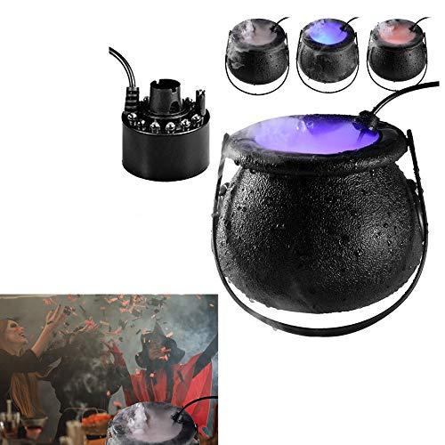 WZKJ Hexenkessel Halloween Nebel, Halloween Hexe Kessel Punch Bowl und Halloween Party Mist Maker, mit 12 farbwechselnden LED Halloween Lichtern