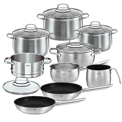 RÖSLE GLOBE Topfset 10-tlg., 6 hochwertige Kochtöpfe, 1 Dämpfeinsatz, 2 Bratpfannen im Set, Edelstahl 18/10, mit Glasdeckel, spülmaschinengeeignet und induktionsgeeignet