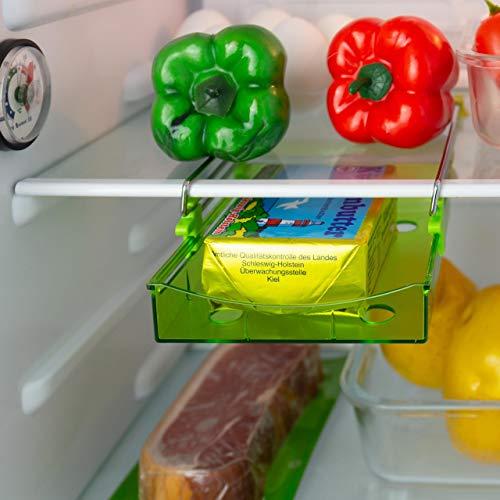 Lantelme Kühlschrank Zusatz Klemmfach Kühlschrankschublade mini Ausziehbar Klemm Schublade Gemüsefach grün 5887