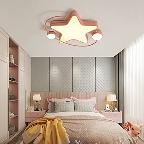 MZT Luz Decorativa de Estrella Creativa, atenuación Continua, luz de Techo LED, luz de Techo para niños, acrílico, Alta transmisión de luz,Rosado